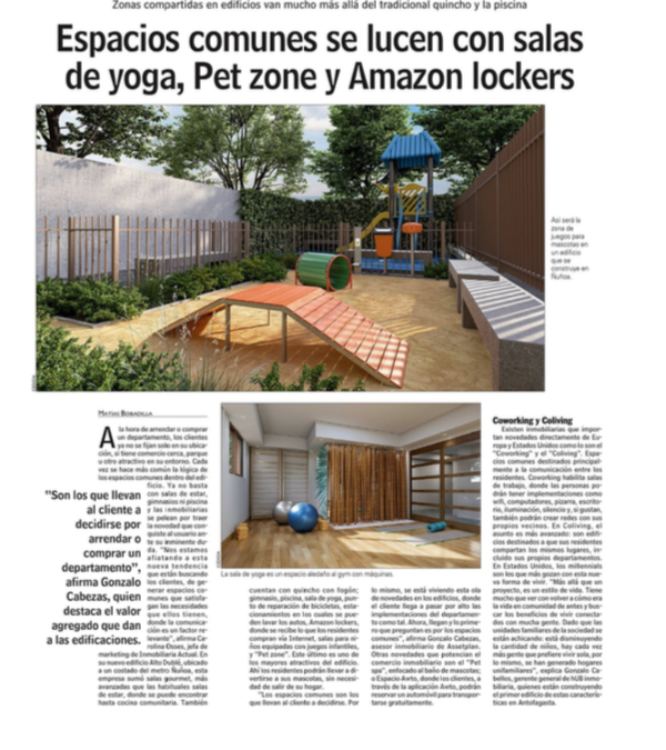 Hub: Espacios comunes se lucen con la salas de yoga, Pet zone y Amazon lockers.
